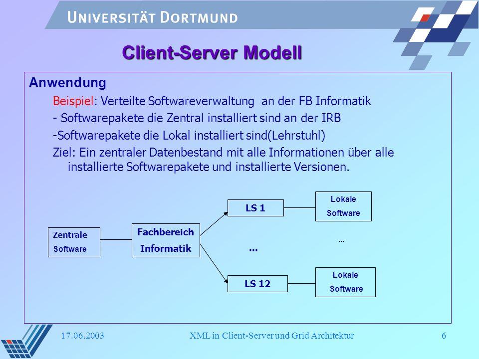 17.06.2003XML in Client-Server und Grid Architektur7 Rolle von XML in Client-Server - XML als Datenbasis -Zentralle Software DTD - DTD für Software die auf Einzelne System installiert sind - DTD für Software die an Lehrstuhl installiert sind -XML in Tusammentragung von Daten -Jeder Lehrstuhl hat eigene Webserver -Der Lehrstuhl aktualisiert sein Datenbestand -Jede Nacht wird automatisch die Daten zusammengetragen -Hier wird der Namenkonvention in der Datenhaltung benötigt.