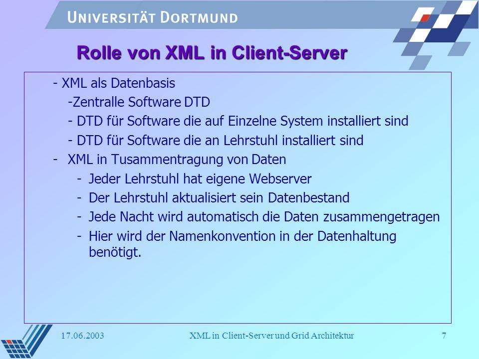 17.06.2003XML in Client-Server und Grid Architektur18 XML in Kommunikationsprotokoll <!ELEMENT invoke_executable (issuer,function_name, client, observer)>