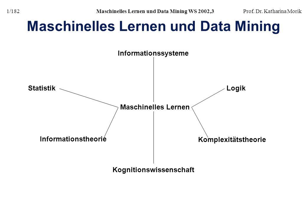 1/182Maschinelles Lernen und Data Mining WS 2002,3Prof. Dr. Katharina Morik Maschinelles Lernen und Data Mining Statistik Informationstheorie Komplexi
