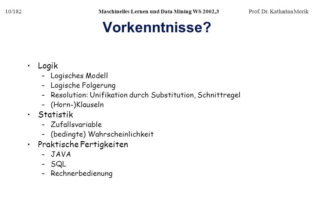 10/182Maschinelles Lernen und Data Mining WS 2002,3Prof. Dr. Katharina Morik Vorkenntnisse? Logik –Logisches Modell –Logische Folgerung –Resolution: U