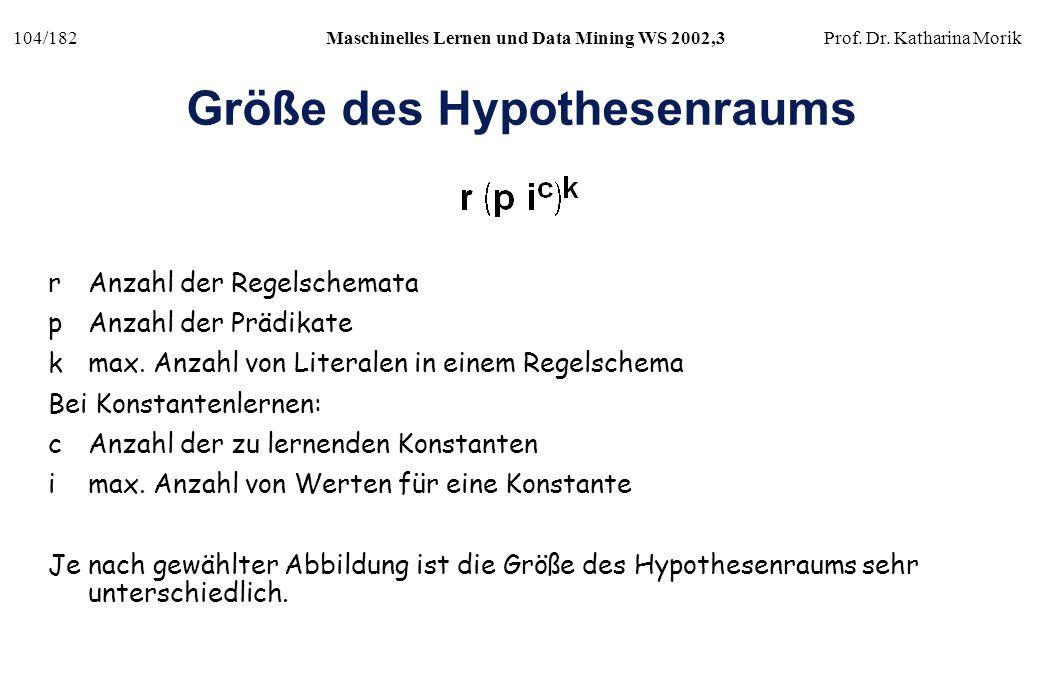 104/182Maschinelles Lernen und Data Mining WS 2002,3Prof. Dr. Katharina Morik Größe des Hypothesenraums rAnzahl der Regelschemata pAnzahl der Prädikat