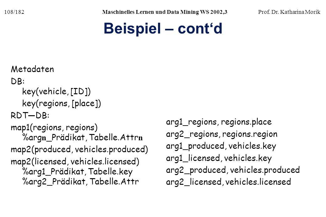 108/182Maschinelles Lernen und Data Mining WS 2002,3Prof. Dr. Katharina Morik Beispiel – contd Metadaten DB: key(vehicle, [ID]) key(regions, [place])