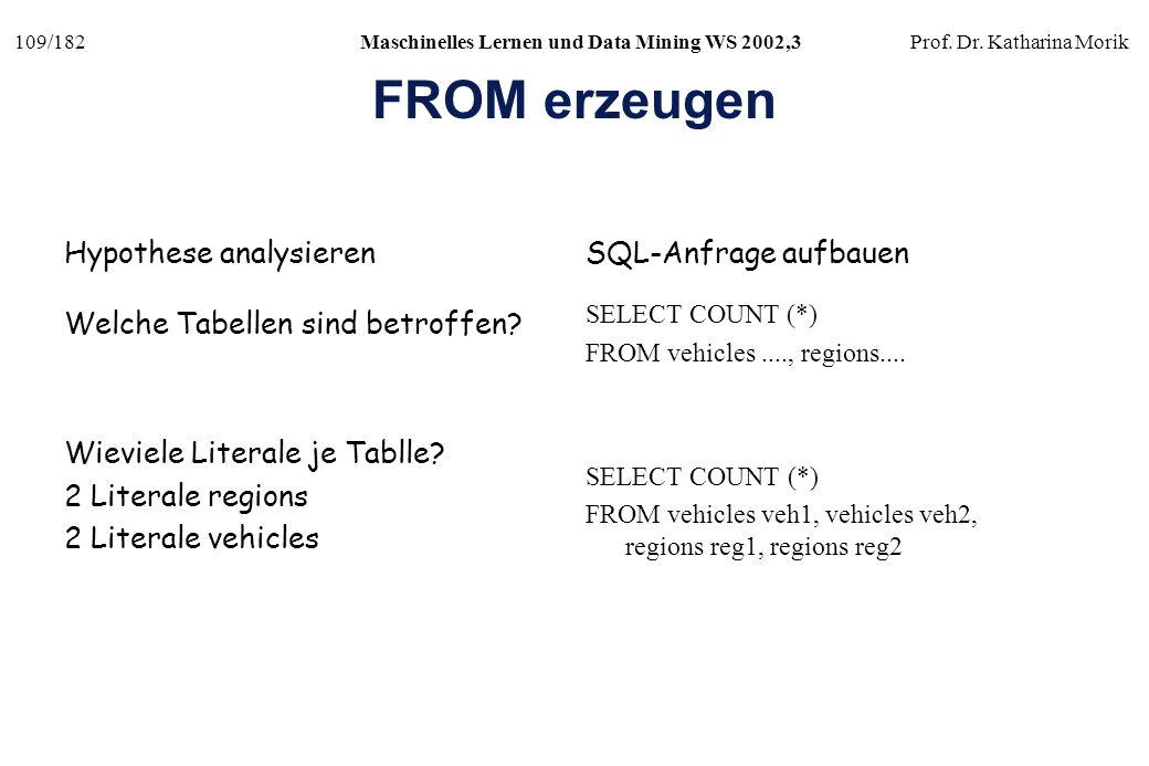 109/182Maschinelles Lernen und Data Mining WS 2002,3Prof. Dr. Katharina Morik FROM erzeugen Welche Tabellen sind betroffen? SELECT COUNT (*) FROM vehi