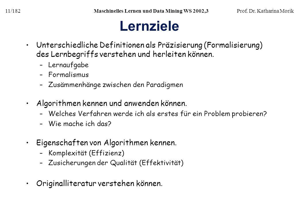 11/182Maschinelles Lernen und Data Mining WS 2002,3Prof. Dr. Katharina Morik Lernziele Unterschiedliche Definitionen als Präzisierung (Formalisierung)