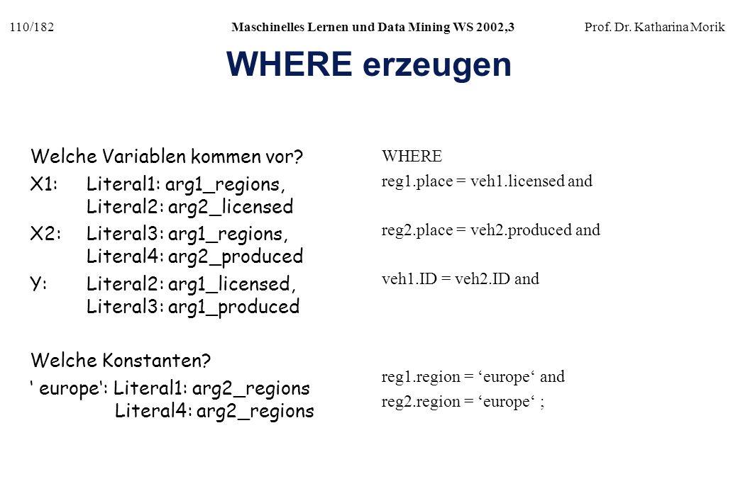 110/182Maschinelles Lernen und Data Mining WS 2002,3Prof. Dr. Katharina Morik WHERE erzeugen Welche Variablen kommen vor? X1:Literal1: arg1_regions, L