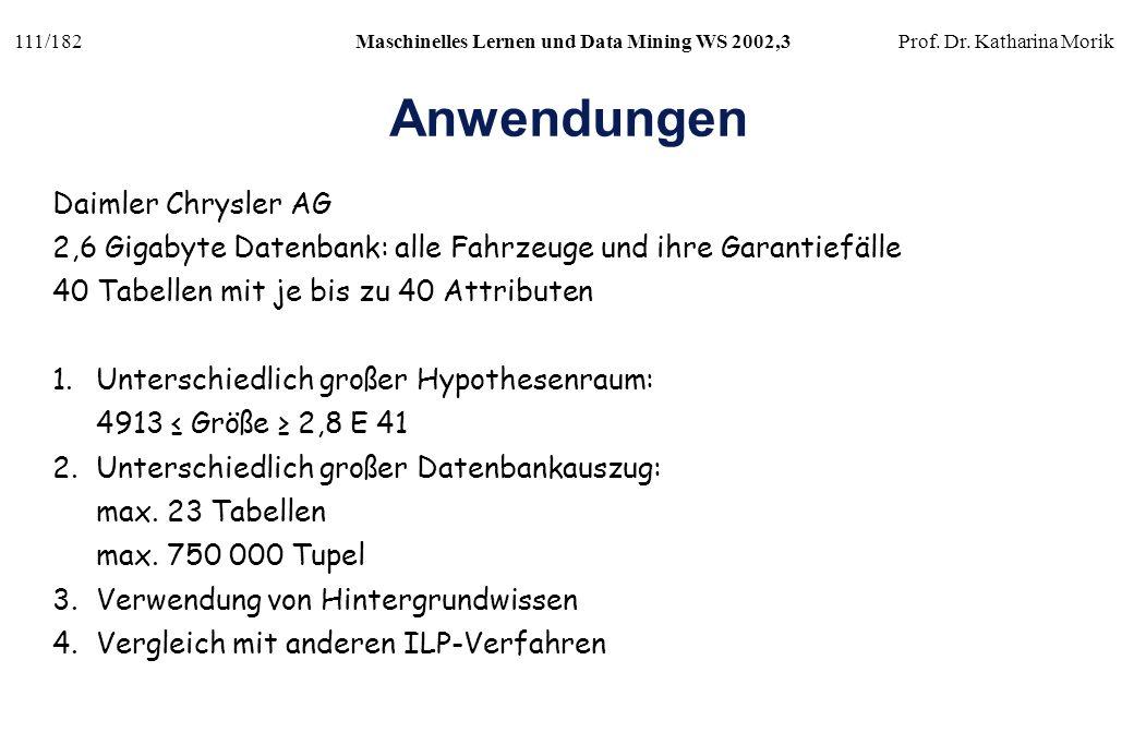 111/182Maschinelles Lernen und Data Mining WS 2002,3Prof. Dr. Katharina Morik Anwendungen Daimler Chrysler AG 2,6 Gigabyte Datenbank: alle Fahrzeuge u