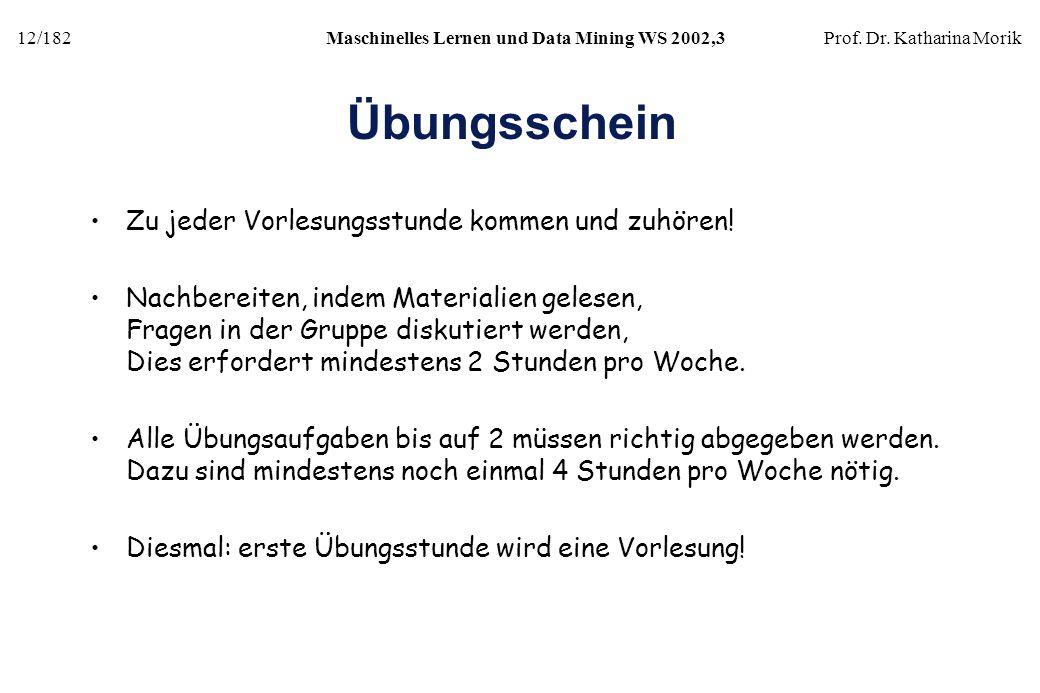 12/182Maschinelles Lernen und Data Mining WS 2002,3Prof. Dr. Katharina Morik Übungsschein Zu jeder Vorlesungsstunde kommen und zuhören! Nachbereiten,