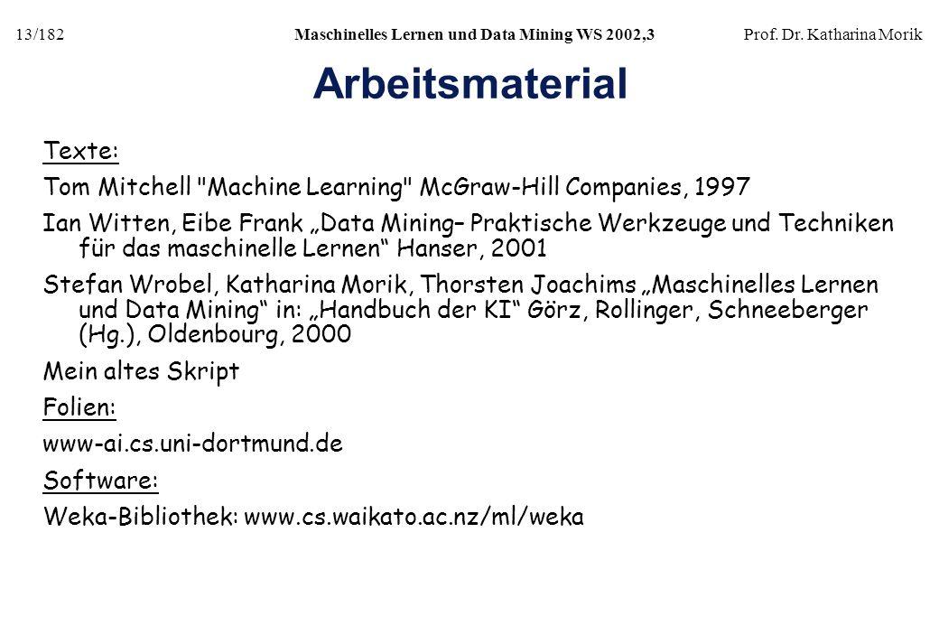 13/182Maschinelles Lernen und Data Mining WS 2002,3Prof. Dr. Katharina Morik Arbeitsmaterial Texte: Tom Mitchell