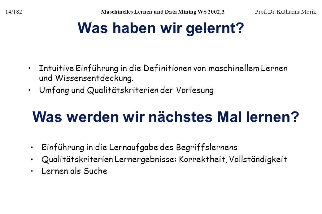 14/182Maschinelles Lernen und Data Mining WS 2002,3Prof. Dr. Katharina Morik Was haben wir gelernt? Intuitive Einführung in die Definitionen von masch