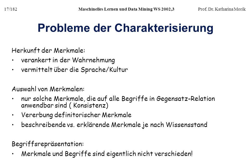 17/182Maschinelles Lernen und Data Mining WS 2002,3Prof. Dr. Katharina Morik Probleme der Charakterisierung Herkunft der Merkmale: verankert in der Wa