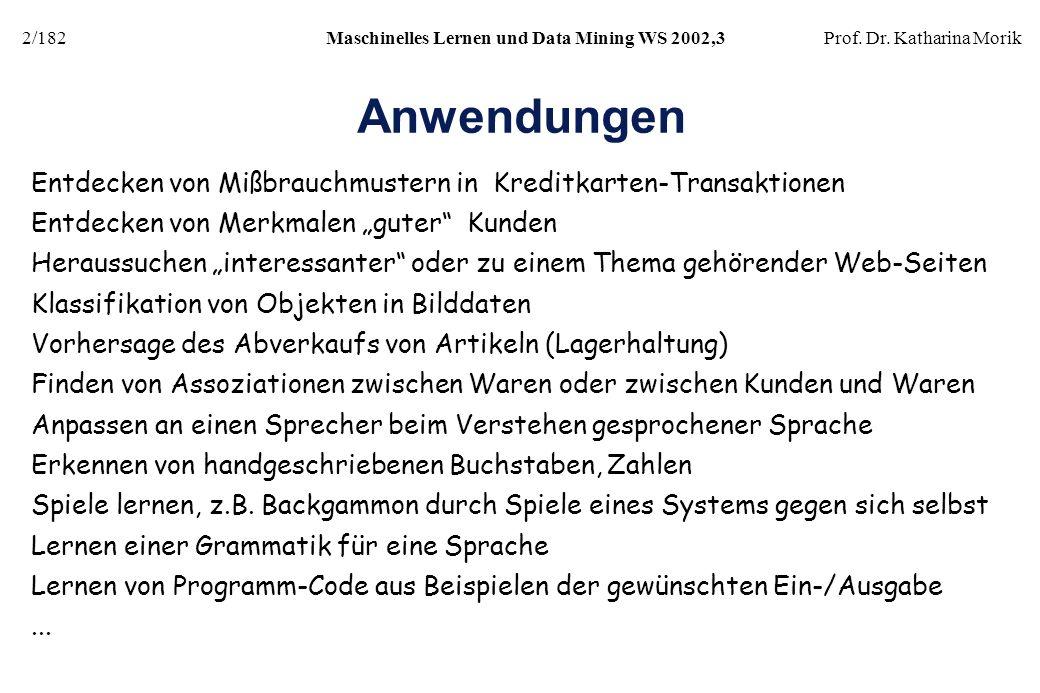 2/182Maschinelles Lernen und Data Mining WS 2002,3Prof. Dr. Katharina Morik Anwendungen Entdecken von Mißbrauchmustern in Kreditkarten-Transaktionen E