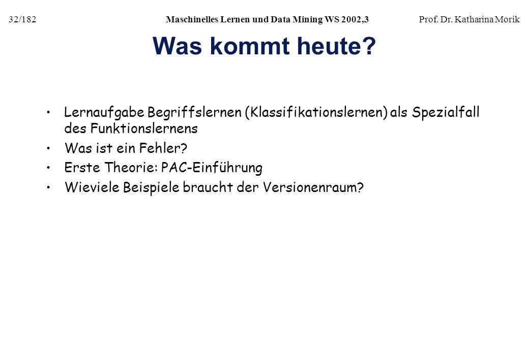 32/182Maschinelles Lernen und Data Mining WS 2002,3Prof. Dr. Katharina Morik Was kommt heute? Lernaufgabe Begriffslernen (Klassifikationslernen) als S