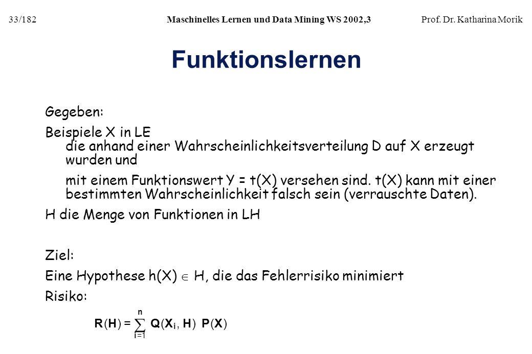 33/182Maschinelles Lernen und Data Mining WS 2002,3Prof. Dr. Katharina Morik Funktionslernen Gegeben: Beispiele X in LE die anhand einer Wahrscheinlic