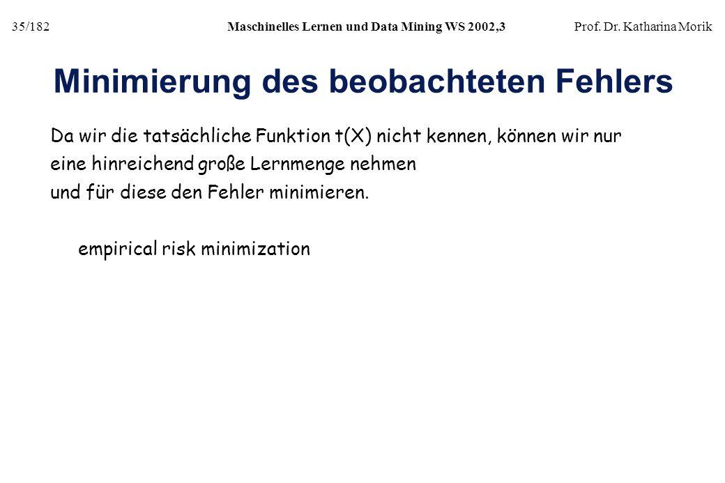 35/182Maschinelles Lernen und Data Mining WS 2002,3Prof. Dr. Katharina Morik Minimierung des beobachteten Fehlers Da wir die tatsächliche Funktion t(X