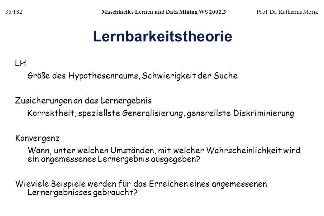 36/182Maschinelles Lernen und Data Mining WS 2002,3Prof. Dr. Katharina Morik Lernbarkeitstheorie LH Größe des Hypothesenraums, Schwierigkeit der Suche