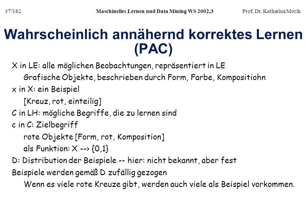 37/182Maschinelles Lernen und Data Mining WS 2002,3Prof. Dr. Katharina Morik Wahrscheinlich annähernd korrektes Lernen (PAC) X in LE: alle möglichen B