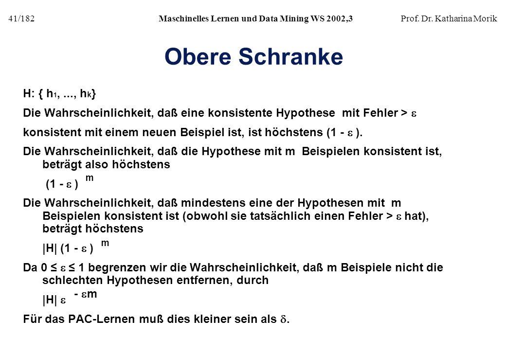 41/182Maschinelles Lernen und Data Mining WS 2002,3Prof. Dr. Katharina Morik Obere Schranke H: { h 1,..., h k } Die Wahrscheinlichkeit, daß eine konsi