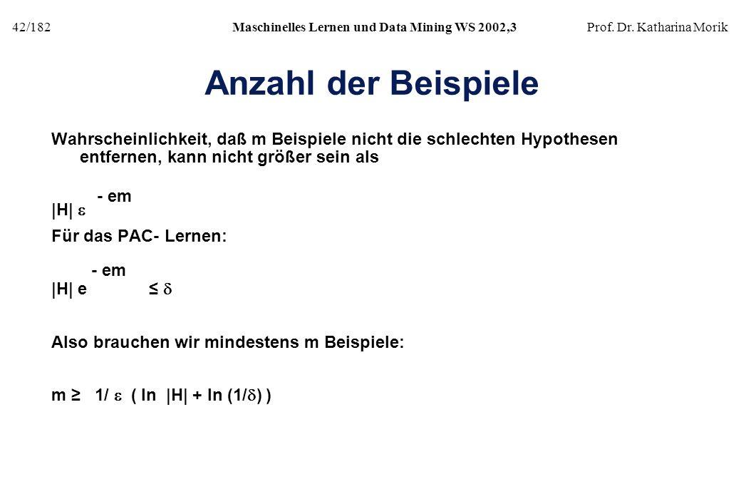 42/182Maschinelles Lernen und Data Mining WS 2002,3Prof. Dr. Katharina Morik Anzahl der Beispiele Wahrscheinlichkeit, daß m Beispiele nicht die schlec