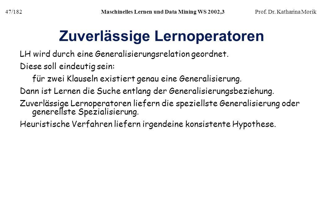 47/182Maschinelles Lernen und Data Mining WS 2002,3Prof. Dr. Katharina Morik Zuverlässige Lernoperatoren LH wird durch eine Generalisierungsrelation g
