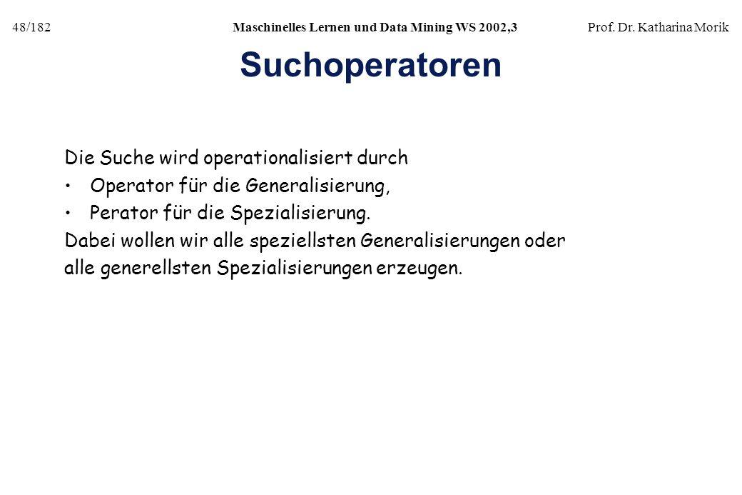 48/182Maschinelles Lernen und Data Mining WS 2002,3Prof. Dr. Katharina Morik Suchoperatoren Die Suche wird operationalisiert durch Operator für die Ge