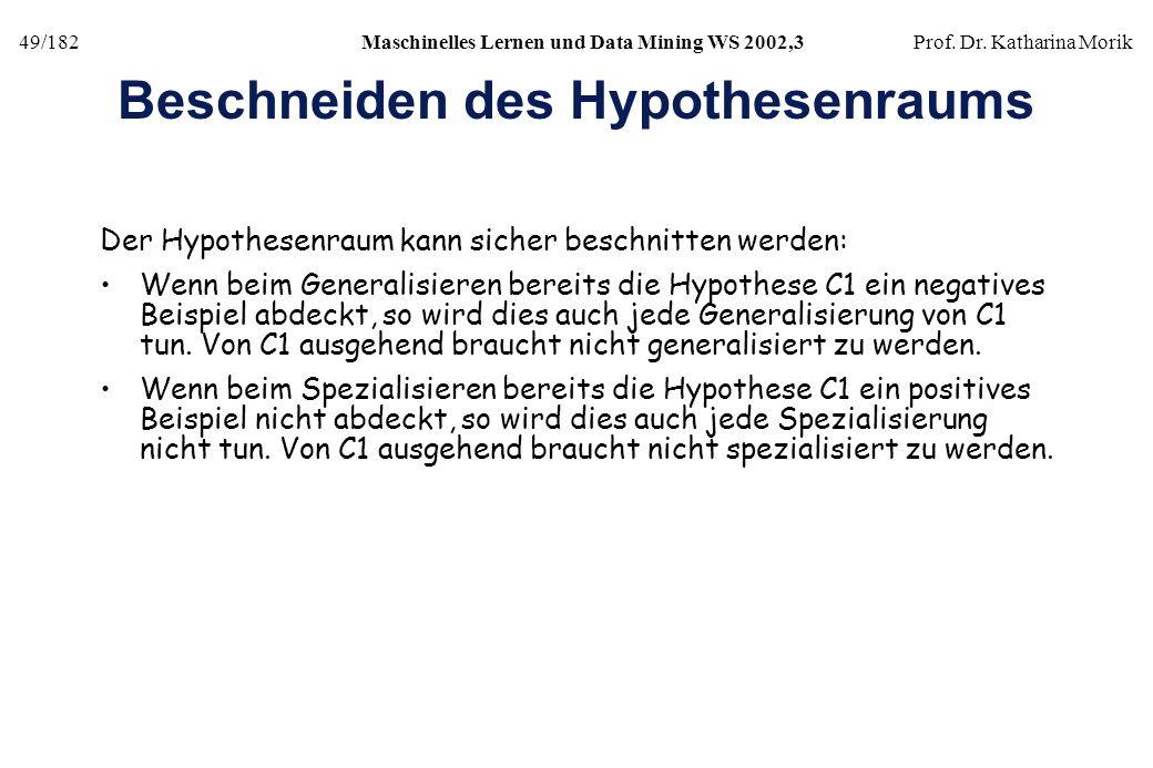 49/182Maschinelles Lernen und Data Mining WS 2002,3Prof. Dr. Katharina Morik Beschneiden des Hypothesenraums Der Hypothesenraum kann sicher beschnitte