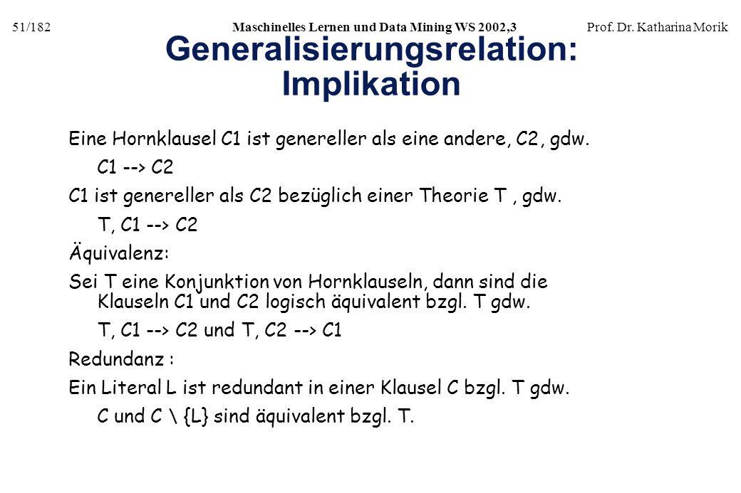 51/182Maschinelles Lernen und Data Mining WS 2002,3Prof. Dr. Katharina Morik Generalisierungsrelation: Implikation Eine Hornklausel C1 ist genereller
