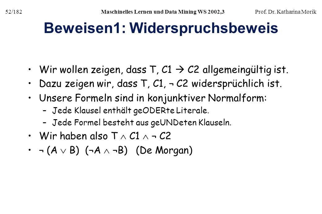 52/182Maschinelles Lernen und Data Mining WS 2002,3Prof. Dr. Katharina Morik Beweisen1: Widerspruchsbeweis Wir wollen zeigen, dass T, C1 C2 allgemeing