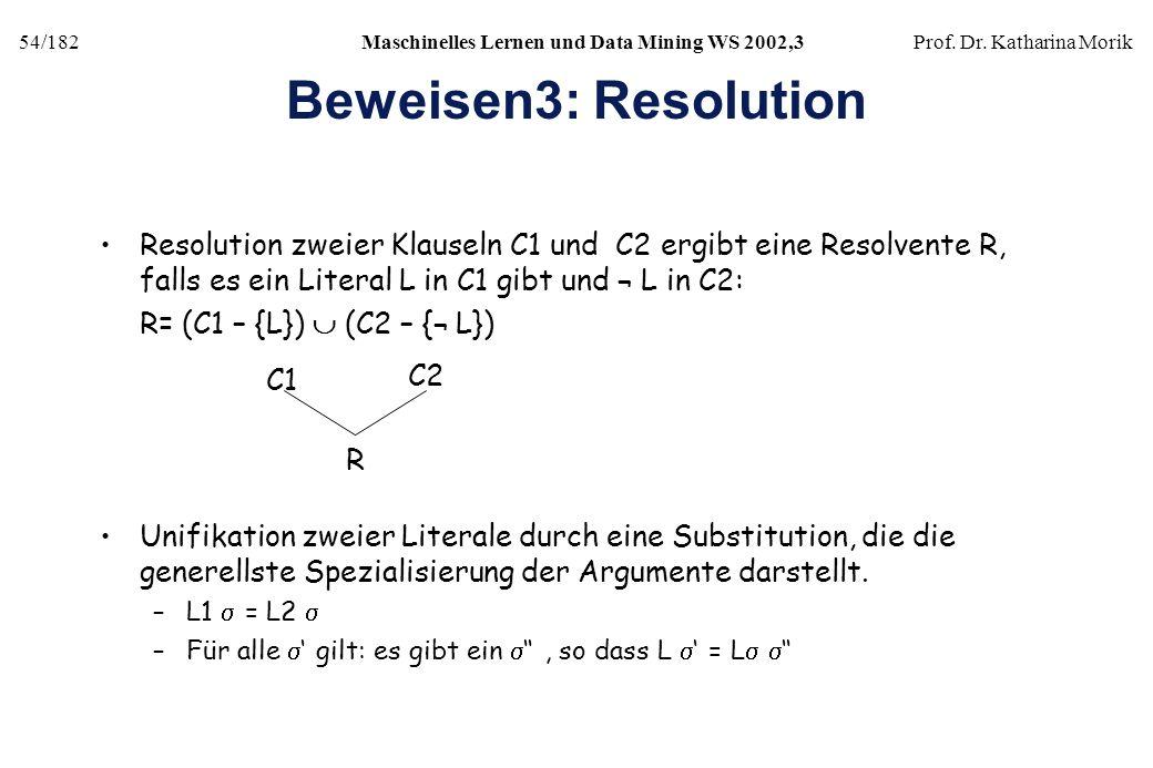 54/182Maschinelles Lernen und Data Mining WS 2002,3Prof. Dr. Katharina Morik Beweisen3: Resolution Resolution zweier Klauseln C1 und C2 ergibt eine Re