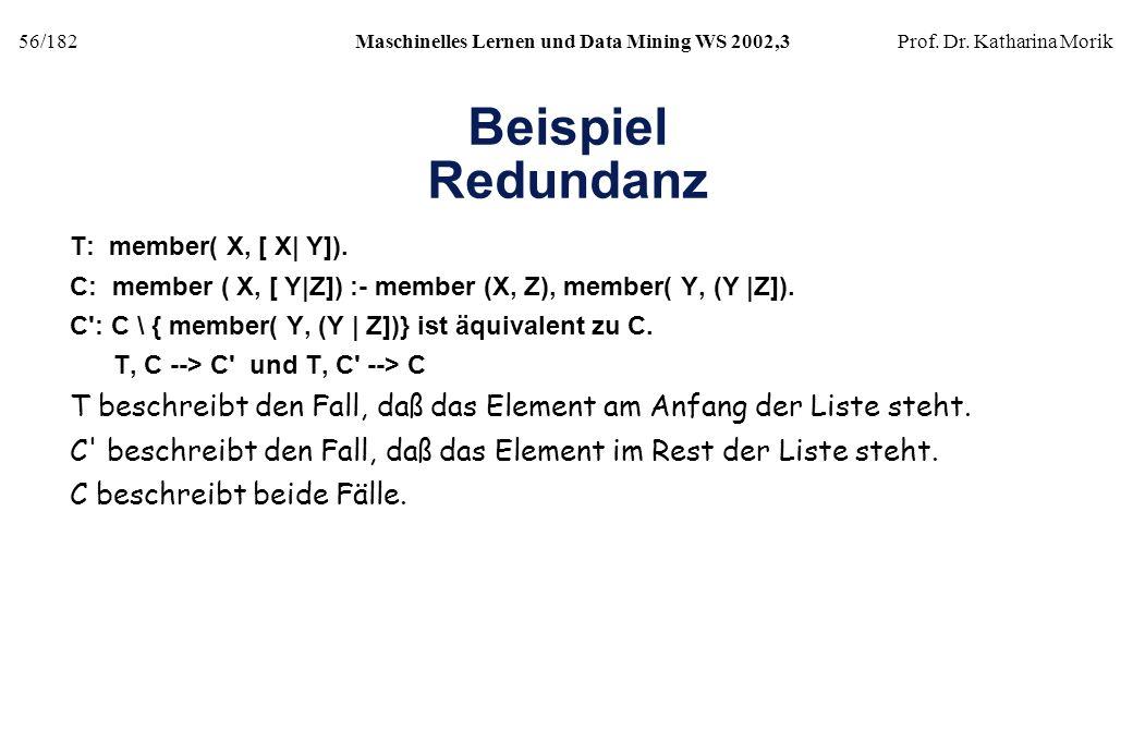 56/182Maschinelles Lernen und Data Mining WS 2002,3Prof. Dr. Katharina Morik Beispiel Redundanz T: member( X, [ X| Y]). C: member ( X, [ Y|Z]) :- memb