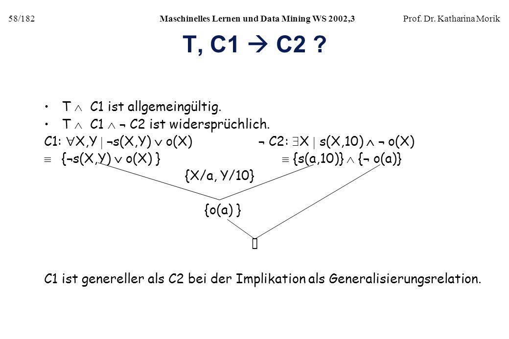 58/182Maschinelles Lernen und Data Mining WS 2002,3Prof. Dr. Katharina Morik T, C1 C2 ? T C1 ist allgemeingültig. T C1 ¬ C2 ist widersprüchlich. C1: X