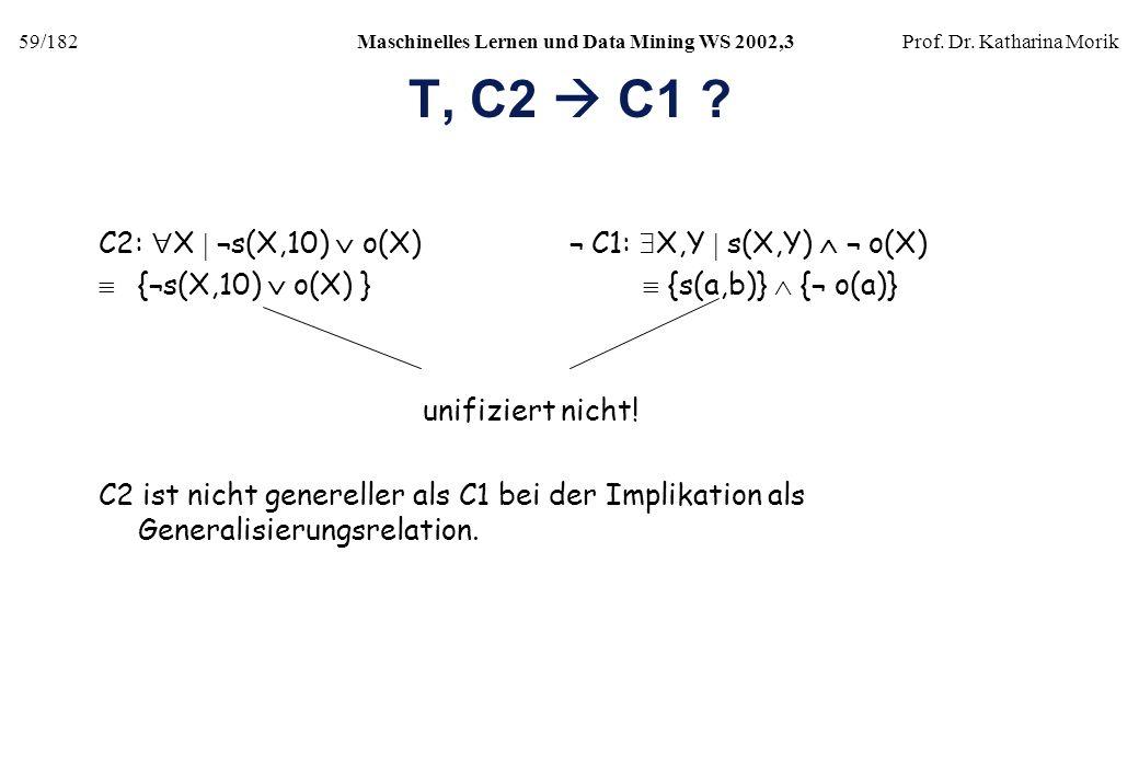 59/182Maschinelles Lernen und Data Mining WS 2002,3Prof. Dr. Katharina Morik T, C2 C1 ? C2: X ¬s(X,10) o(X) ¬ C1: X,Y s(X,Y) ¬ o(X) {¬s(X,10) o(X) } {