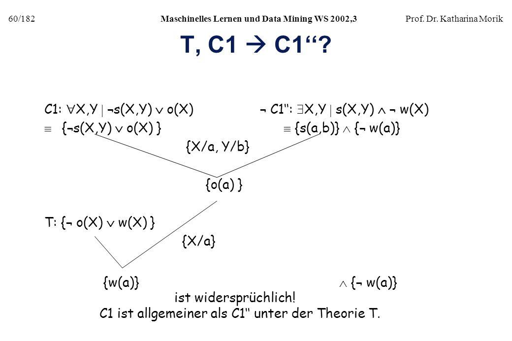 60/182Maschinelles Lernen und Data Mining WS 2002,3Prof. Dr. Katharina Morik T, C1 C1? C1: X,Y ¬s(X,Y) o(X) ¬ C1: X,Y s(X,Y) ¬ w(X) {¬s(X,Y) o(X) } {s