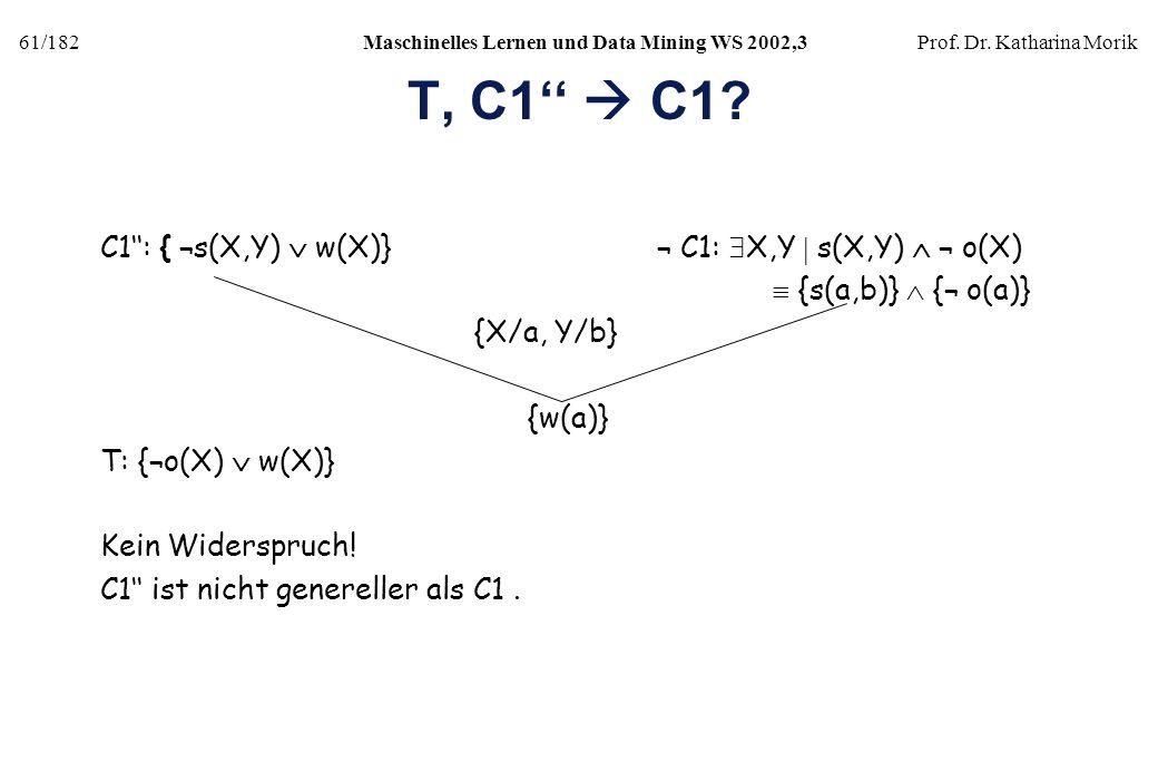 61/182Maschinelles Lernen und Data Mining WS 2002,3Prof. Dr. Katharina Morik T, C1 C1? C1: { ¬s(X,Y) w(X)} ¬ C1: X,Y s(X,Y) ¬ o(X) {s(a,b)} {¬ o(a)} {