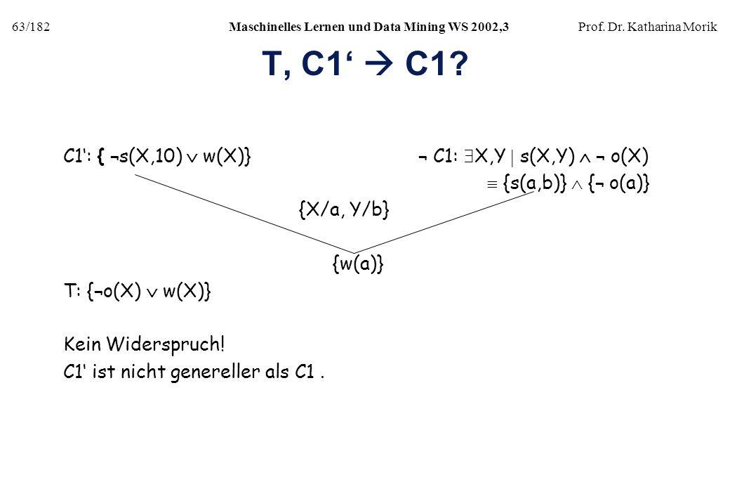 63/182Maschinelles Lernen und Data Mining WS 2002,3Prof. Dr. Katharina Morik T, C1 C1? C1: { ¬s(X,10) w(X)} ¬ C1: X,Y s(X,Y) ¬ o(X) {s(a,b)} {¬ o(a)}
