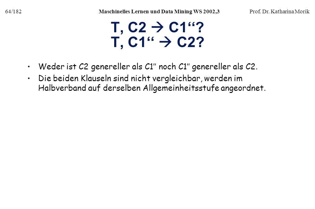 64/182Maschinelles Lernen und Data Mining WS 2002,3Prof. Dr. Katharina Morik T, C2 C1? T, C1 C2? Weder ist C2 genereller als C1 noch C1 genereller als