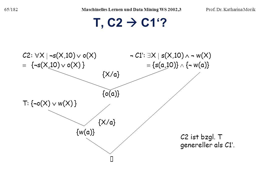 65/182Maschinelles Lernen und Data Mining WS 2002,3Prof. Dr. Katharina Morik T, C2 C1? C2: X ¬s(X,10) o(X) ¬ C1: X s(X,10) ¬ w(X) {¬s(X,10) o(X) } {s(