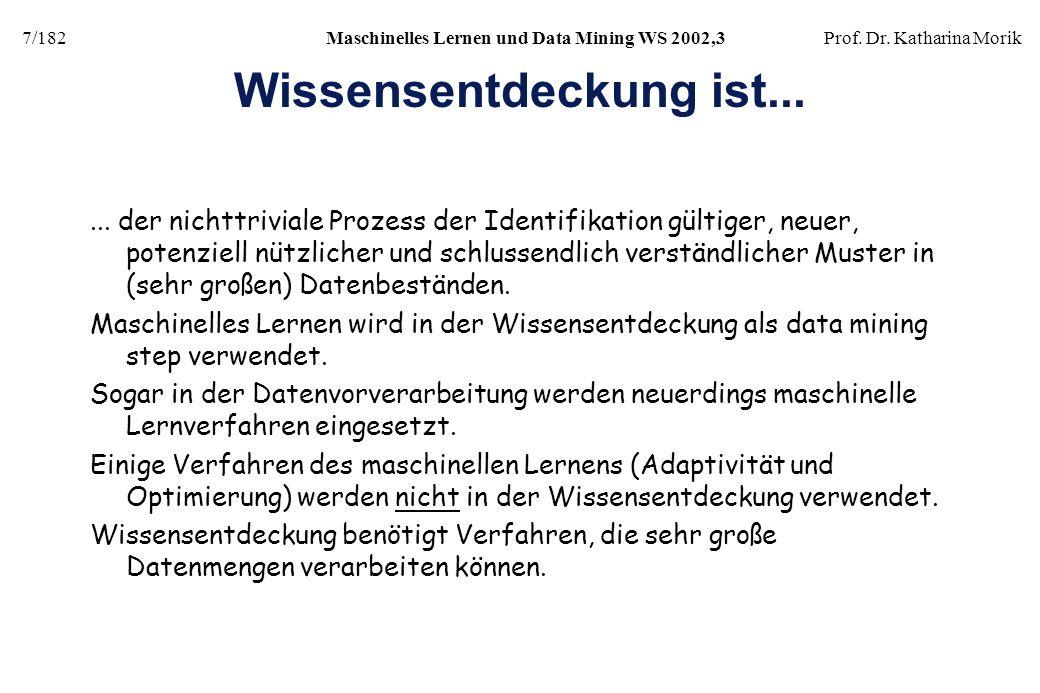 7/182Maschinelles Lernen und Data Mining WS 2002,3Prof. Dr. Katharina Morik Wissensentdeckung ist...... der nichttriviale Prozess der Identifikation g