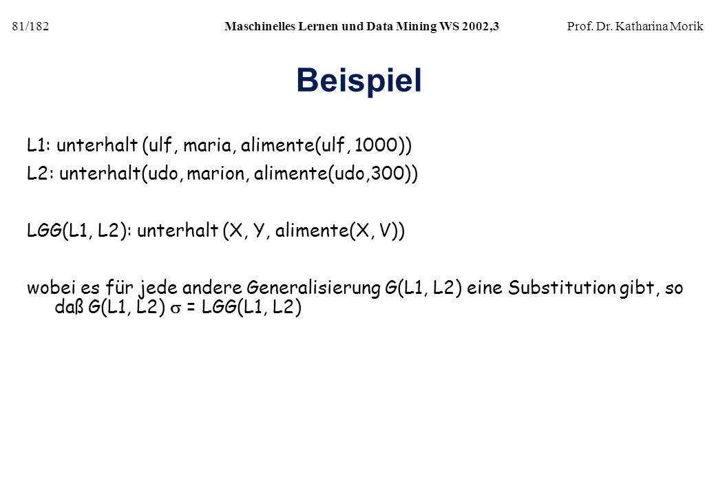 81/182Maschinelles Lernen und Data Mining WS 2002,3Prof. Dr. Katharina Morik Beispiel L1: unterhalt (ulf, maria, alimente(ulf, 1000)) L2: unterhalt(ud