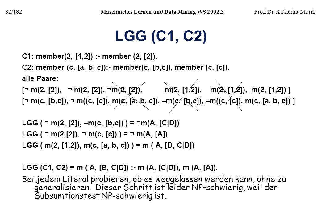82/182Maschinelles Lernen und Data Mining WS 2002,3Prof. Dr. Katharina Morik LGG (C1, C2) C1: member(2, [1,2]) :- member (2, [2]). C2: member (c, [a,