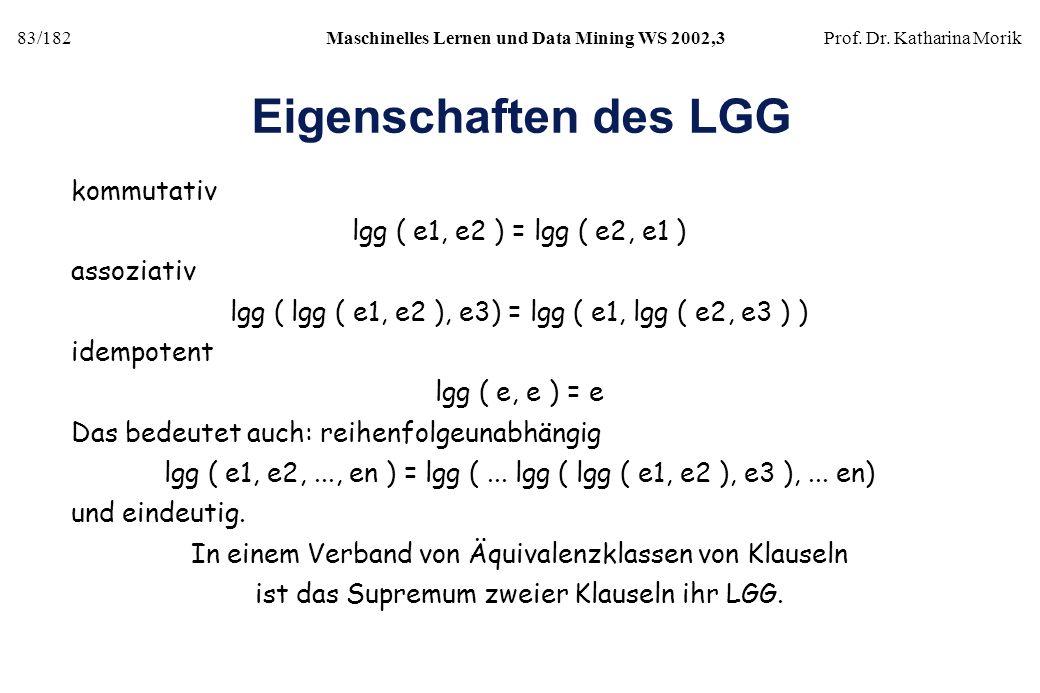 83/182Maschinelles Lernen und Data Mining WS 2002,3Prof. Dr. Katharina Morik Eigenschaften des LGG kommutativ lgg ( e1, e2 ) = lgg ( e2, e1 ) assoziat