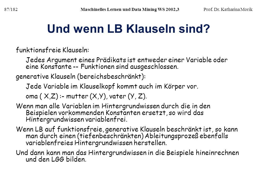 87/182Maschinelles Lernen und Data Mining WS 2002,3Prof. Dr. Katharina Morik Und wenn LB Klauseln sind? funktionsfreie Klauseln: Jedes Argument eines