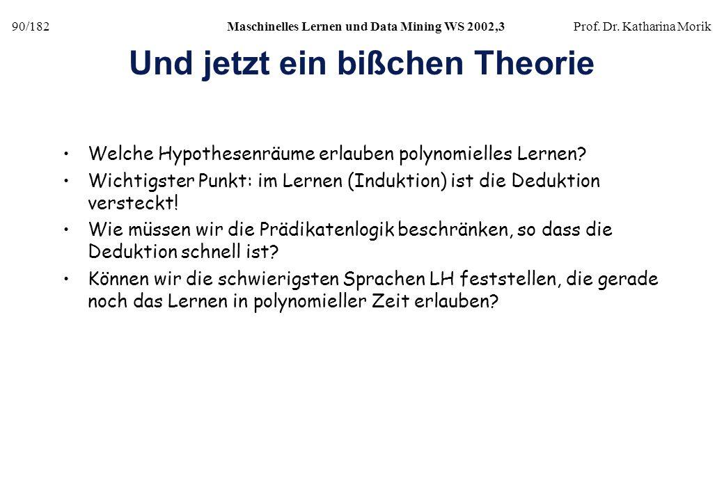 90/182Maschinelles Lernen und Data Mining WS 2002,3Prof. Dr. Katharina Morik Und jetzt ein bißchen Theorie Welche Hypothesenräume erlauben polynomiell