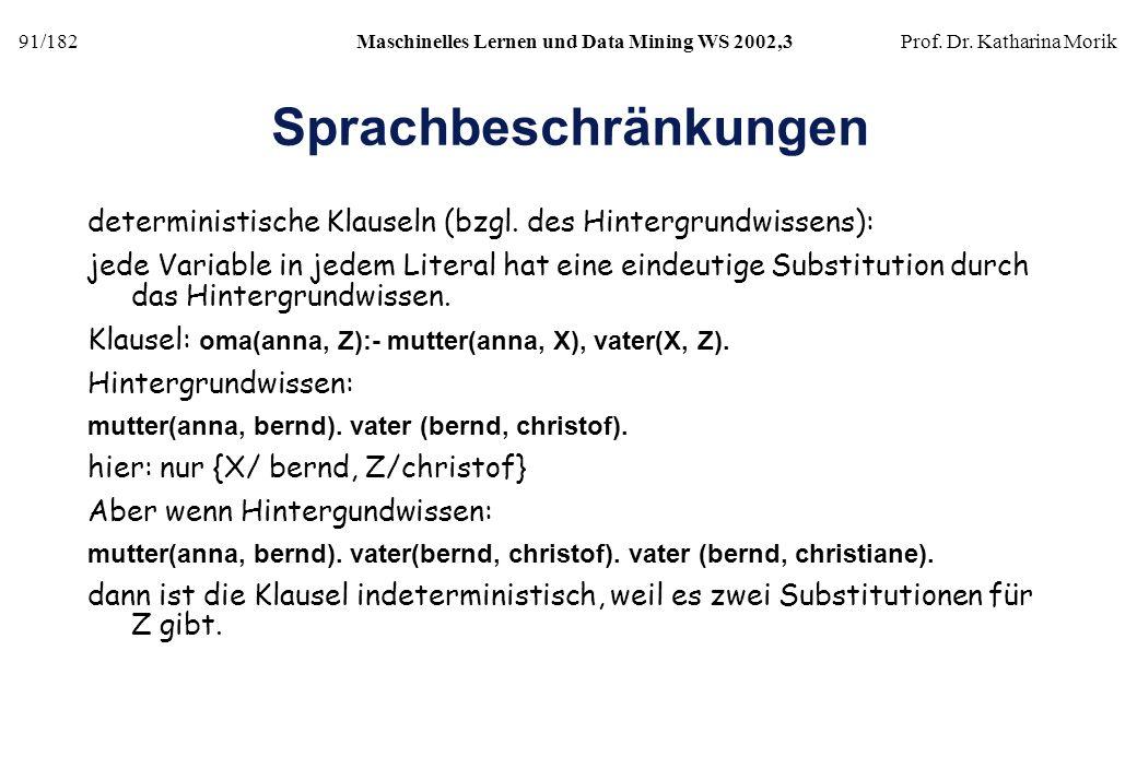 91/182Maschinelles Lernen und Data Mining WS 2002,3Prof. Dr. Katharina Morik Sprachbeschränkungen deterministische Klauseln (bzgl. des Hintergrundwiss