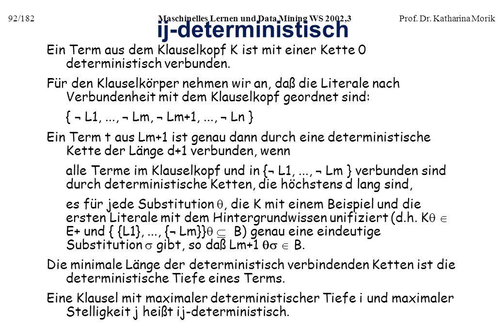 92/182Maschinelles Lernen und Data Mining WS 2002,3Prof. Dr. Katharina Morik ij-deterministisch Ein Term aus dem Klauselkopf K ist mit einer Kette 0 d