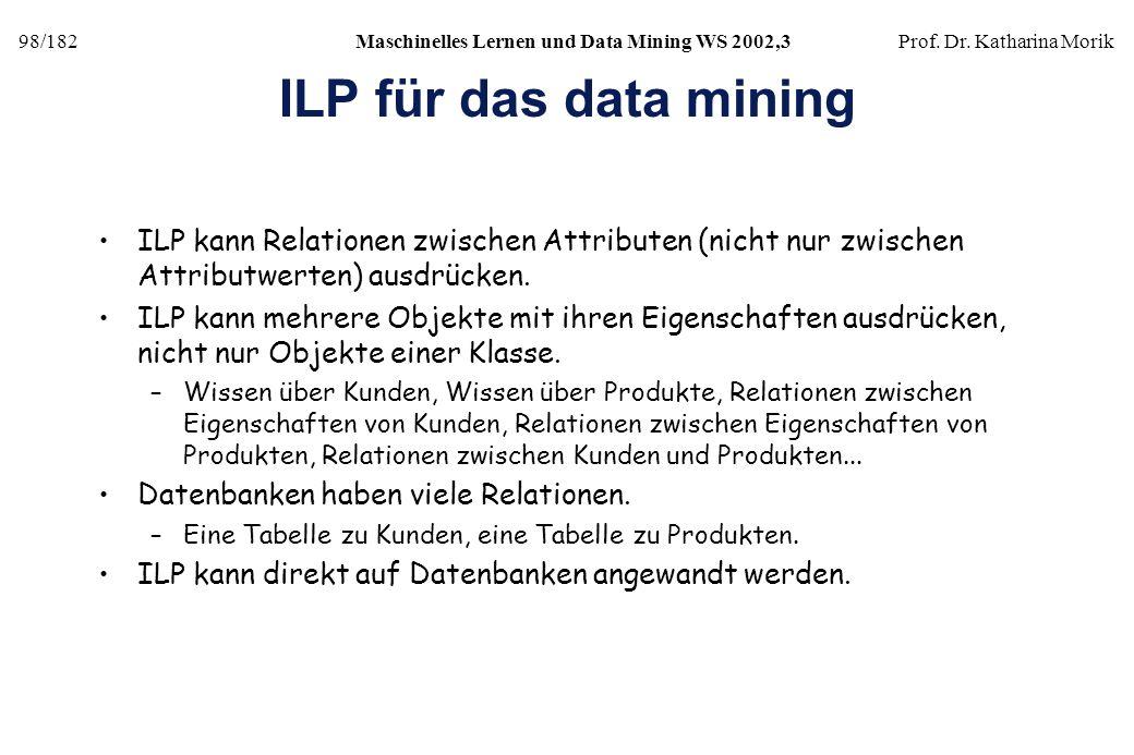 98/182Maschinelles Lernen und Data Mining WS 2002,3Prof. Dr. Katharina Morik ILP für das data mining ILP kann Relationen zwischen Attributen (nicht nu