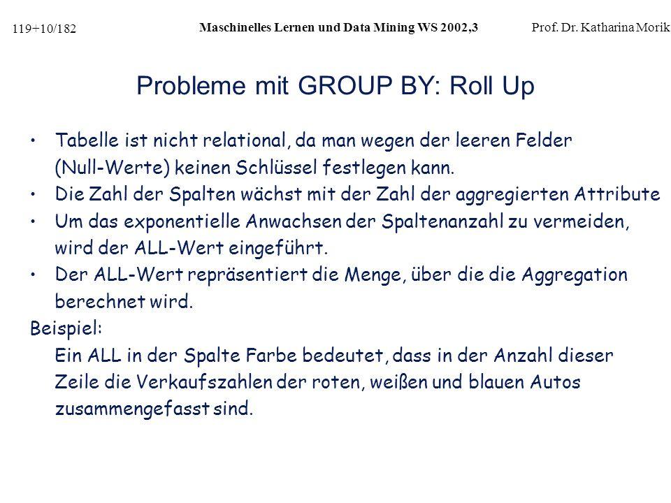 119+10/182 Maschinelles Lernen und Data Mining WS 2002,3Prof.