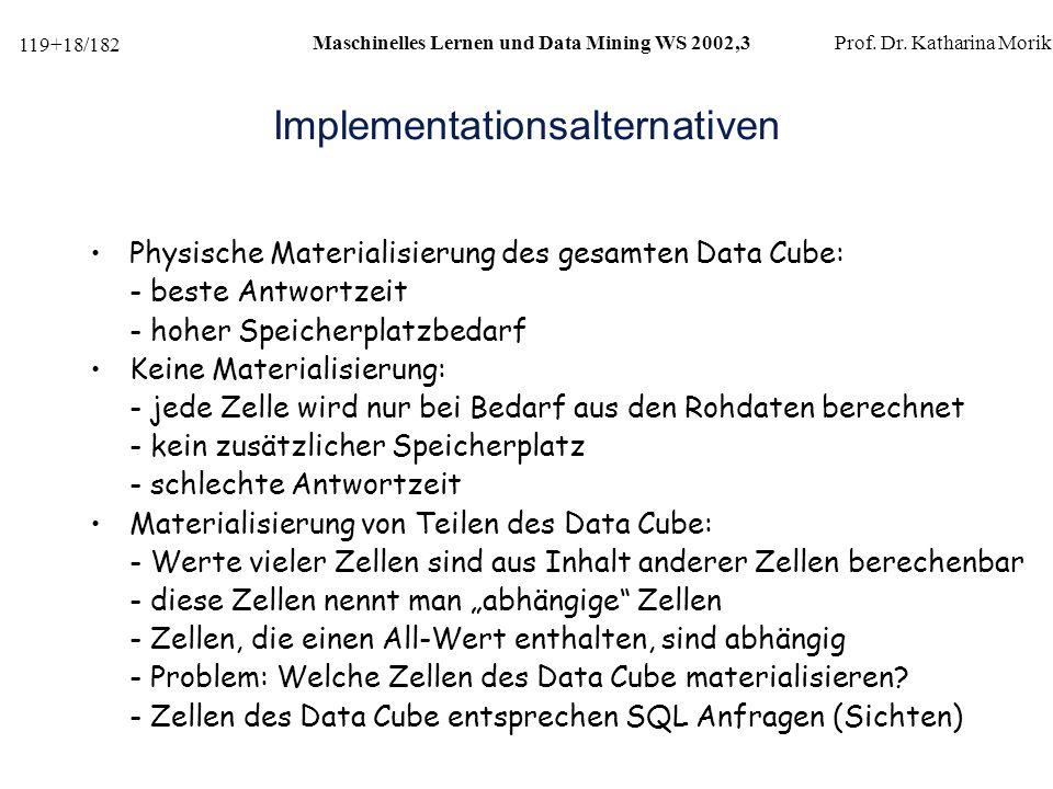 119+18/182 Maschinelles Lernen und Data Mining WS 2002,3Prof.
