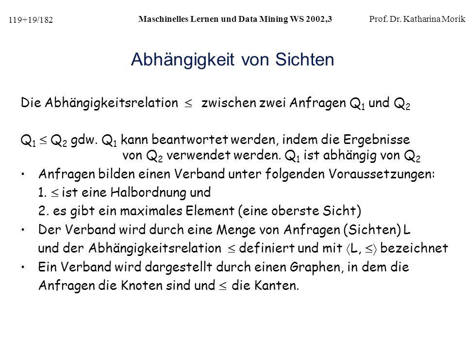 119+19/182 Maschinelles Lernen und Data Mining WS 2002,3Prof.