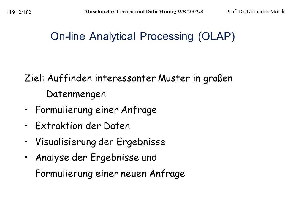 119+63/182 Maschinelles Lernen und Data Mining WS 2002,3Prof.