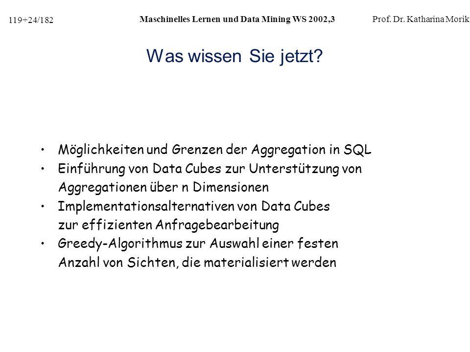 119+24/182 Maschinelles Lernen und Data Mining WS 2002,3Prof.